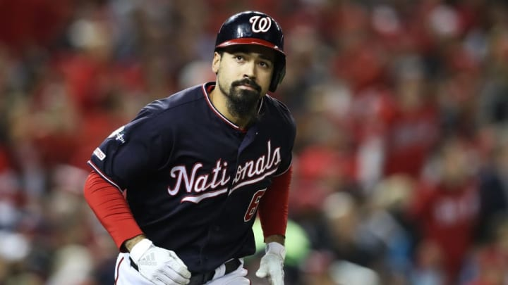WASHINGTON, DC - OCTOBER 15: Anthony Rendon #6 of the Washington Nationals reacts as he flies out in the seventh inning against the St. Louis Cardinals during game four of the National League Championship Series at Nationals Park on October 15, 2019 in Washington, DC. (Photo by Rob Carr/Getty Images)