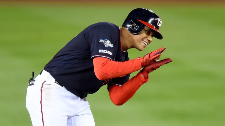 WASHINGTON, DC - OCTOBER 15: Juan Soto #22 of the Washington Nationals reacts after a play against the St. Louis Cardinals during Game Four of the National League Championship Series at Nationals Park on October 15, 2019 in Washington, DC. (Photo by Will Newton/Getty Images)
