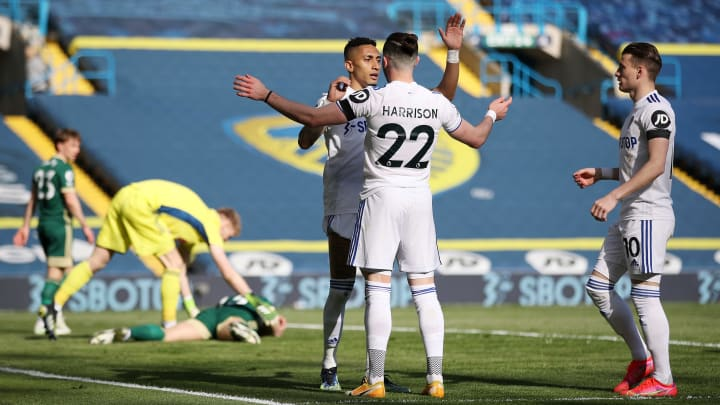 Leeds celebrate their early goal against Sheffield United