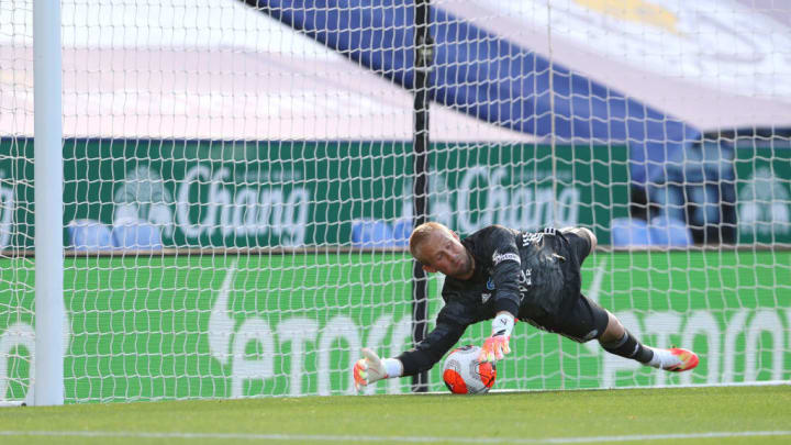 Schmeichel saved Maupay's penalty comfortably down to his right
