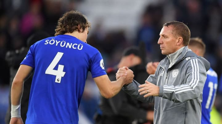 Söyüncü congratulated by Leicester boss Brendan Rodgers.