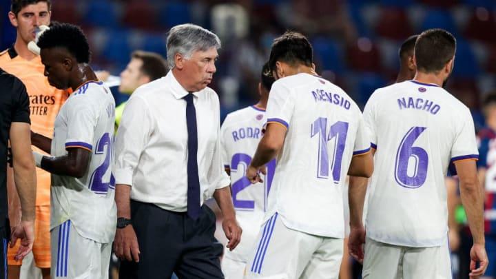 Carlo Ancelotti, Marco Asensio, Nacho Fernandez, Vinicius Junior