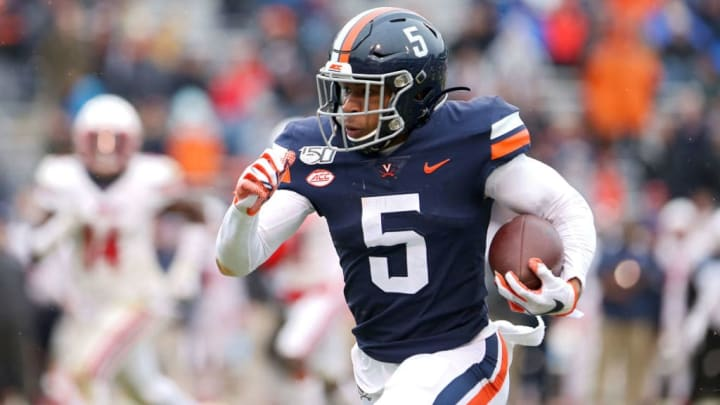 CHARLOTTESVILLE, VA - NOVEMBER 23: Lamont Atkins #5 of the Virginia Cavaliers rushes in the first half during a game against the Liberty Flames at Scott Stadium on November 23, 2019 in Charlottesville, Virginia. (Photo by Ryan M. Kelly/Getty Images)