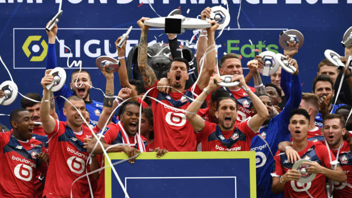 Ligue 1 championship trophy ceremony in Lille