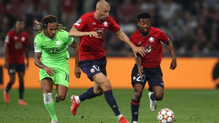 Burak Yılmaz, Angel Gomes, Kevin Mbabu lors de la rencontre Lille-Wolfsbourg