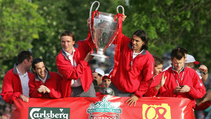 Liverpool players (L-R) Jamie Carragher,