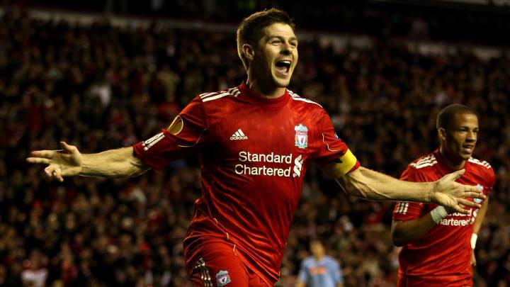 Steven Gerrard scores against Napoli