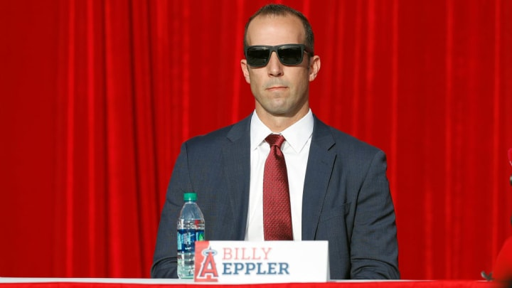 ANAHEIM, CA - DECEMBER 09:  General Manager Billy Eppler attends the Shohei Ohtani introduction to the Los Angeles Angels of Anaheim at Angel Stadium of Anaheim on December 9, 2017 in Anaheim, California.  (Photo by Josh Lefkowitz/Getty Images)