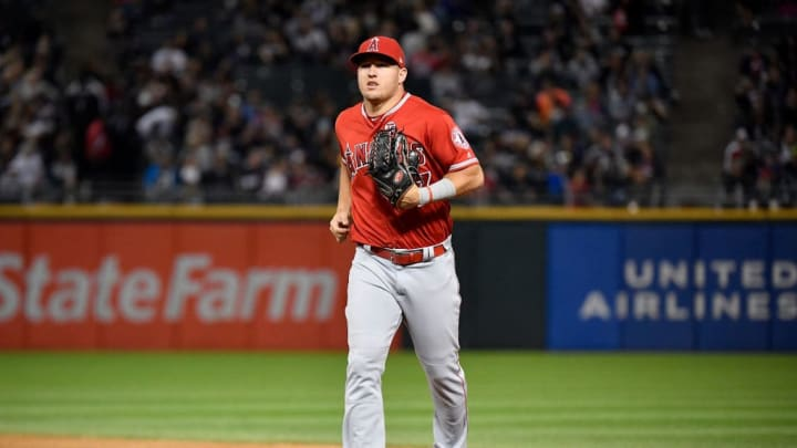 CHICAGO, ILLINOIS - SEPTEMBER 06: Mike Trout #27 of the Los Angeles Angels of Anaheim looks on against the Chicago White Sox at Guaranteed Rate Field on September 06, 2019 in Chicago, Illinois. (Photo by Quinn Harris/Getty Images)