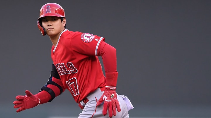 MINNEAPOLIS, MN - MAY 13: Shohei Ohtani #17 of the Los Angeles Angels of Anaheim heads to second base after teammate Andrelton Simmons #2 walked against the Minnesota Twins during the first inning of the game on May 13, 2019 at Target Field in Minneapolis, Minnesota. (Photo by Hannah Foslien/Getty Images)