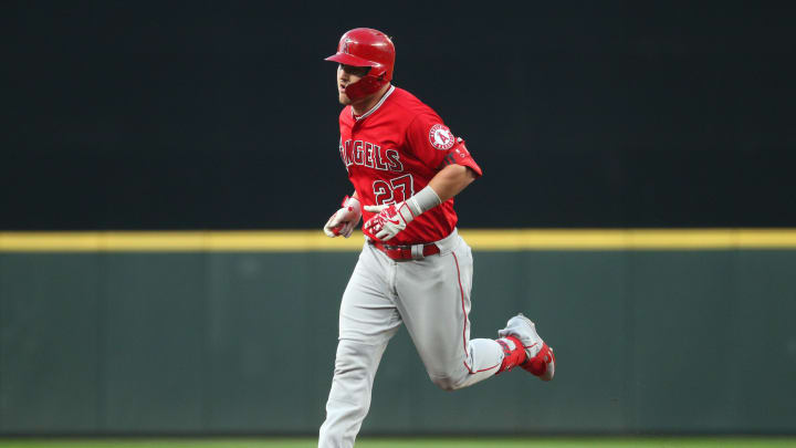 SEATTLE, WASHINGTON - MAY 31: Mike Trout #27 of the Los Angeles Angels of Anaheim laps the bases after hitting a solo home run against the Seattle Mariners in the sixth inning during their game at T-Mobile Park on May 31, 2019 in Seattle, Washington. (Photo by Abbie Parr/Getty Images)