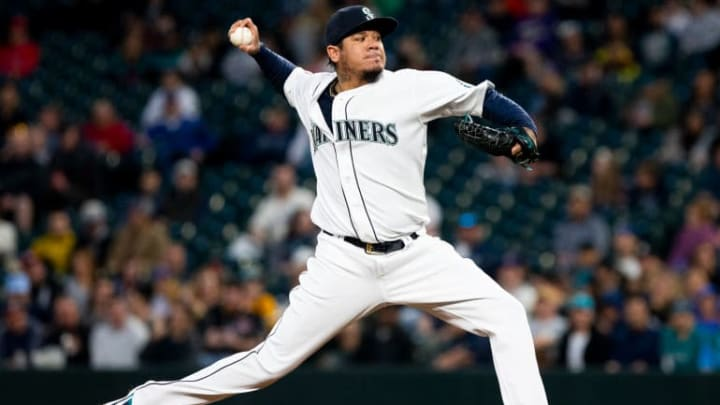 SEATTLE, WA - APRIL 01:  Felix Hernandez #34 of the Seattle Mariners pitches in the second inning against the Los Angeles Angels of Anaheim at T-Mobile Park on April 1, 2019 in Seattle, Washington. (Photo by Lindsey Wasson/Getty Images)