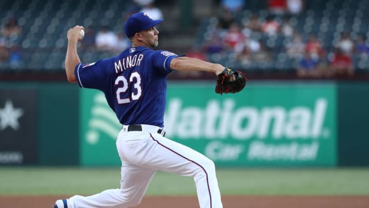 ARLINGTON, TEXAS - AUGUST 21:  Mike Minor #23 of the Texas Rangers throws against the Los Angeles Angels in the first inning at Globe Life Park in Arlington on August 21, 2019 in Arlington, Texas. (Photo by Ronald Martinez/Getty Images)