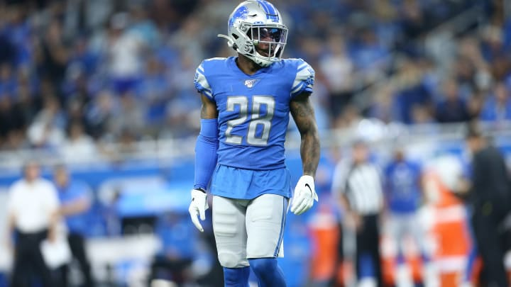 DETROIT, MI - SEPTEMBER 15: Quandre Diggs #28 of the Detroit Lions in game action in the fourth quarter against the Los Angeles Chargers at Ford Field on September 15, 2019 in Detroit, Michigan. (Photo by Rey Del Rio/Getty Images)