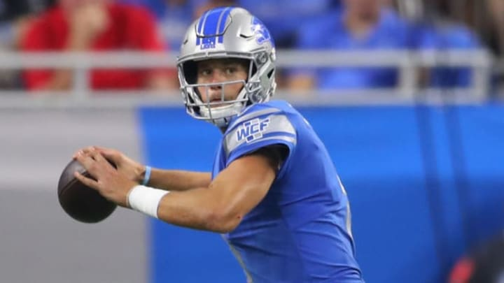 DETROIT, MICHIGAN - SEPTEMBER 15: Matthew Stafford #9 of the Detroit Lions throws a second quarter pass while playing the Los Angeles Chargers at Ford Field on September 15, 2019 in Detroit, Michigan. (Photo by Gregory Shamus/Getty Images)