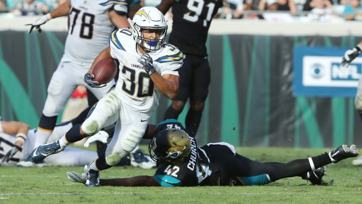 JACKSONVILLE, FL - NOVEMBER 12:  Austin Ekeler #30 of the Los Angeles Chargers runs with the football in the second half of their game against the Jacksonville Jaguars at EverBank Field on November 12, 2017 in Jacksonville, Florida.  (Photo by Sam Greenwood/Getty Images)