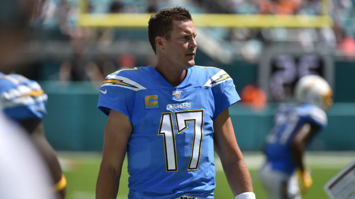 MIAMI, FL - SEPTEMBER 29: Philip Rivers #17 of the Los Angeles Chargers on the sidelines during the second quarter of the game against the Miami Dolphins at Hard Rock Stadium on September 29, 2019 in Miami, Florida. (Photo by Eric Espada/Getty Images)