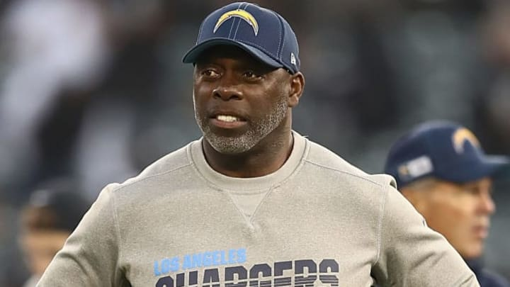 OAKLAND, CALIFORNIA - NOVEMBER 07: Head coach Anthony Lynn of the Los Angeles Chargers walks on the field during warm ups before the game against the Oakland Raiders at RingCentral Coliseum on November 07, 2019 in Oakland, California. (Photo by Ezra Shaw/Getty Images)