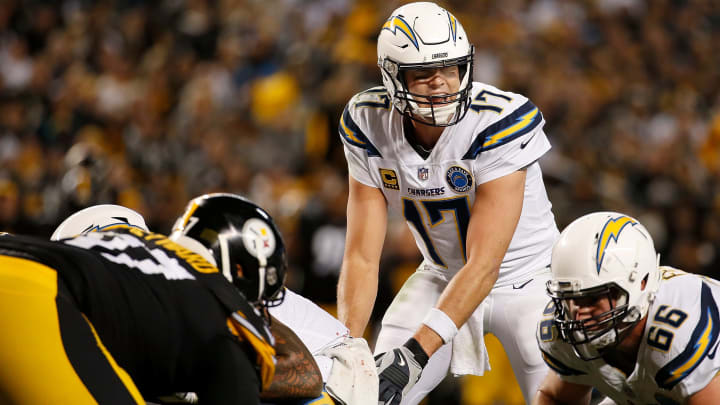 PITTSBURGH, PA - DECEMBER 02: Philip Rivers #17 of the Los Angeles Chargers lines up under center in the second half during the game against the Pittsburgh Steelers at Heinz Field on December 2, 2018 in Pittsburgh, Pennsylvania. (Photo by Justin K. Aller/Getty Images)