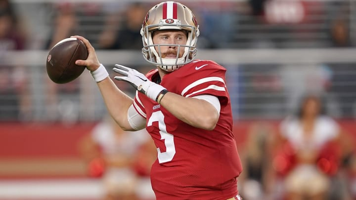 SANTA CLARA, CA - AUGUST 29:  C.J. Beathard #3 of the San Francisco 49ers drops back to pass against the Los Angeles Chargers during the first quarter of an NFL football game at Levi's Stadium on August 29, 2019 in Santa Clara, California.  (Photo by Thearon W. Henderson/Getty Images)