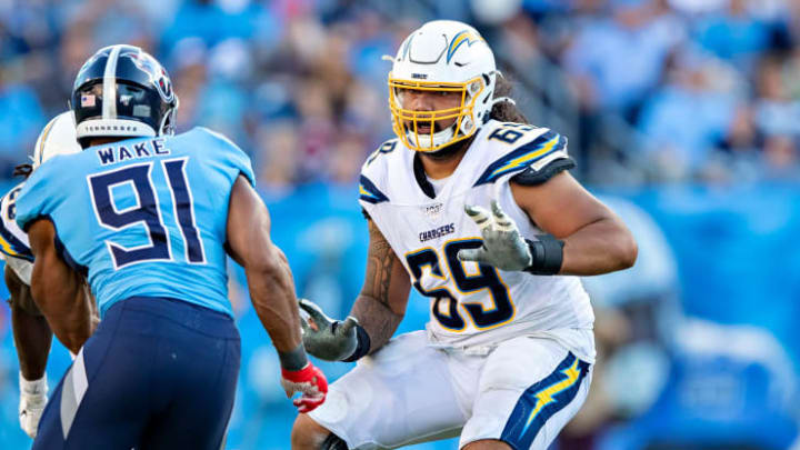 Los Angeles Chargers right tackle Sam Tevi