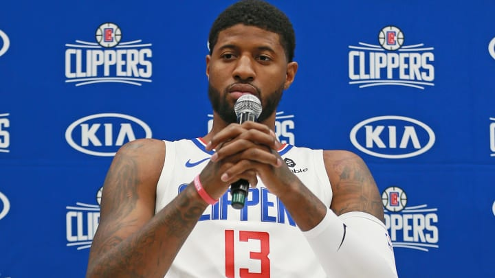 PLAYA VISTA, CALIFORNIA - SEPTEMBER 29: Paul George #13 of the Los Angeles Clippers address the media during Los Angeles Clippers Media Day at Honey Training Center on September 29, 2019 in Playa Vista, California. (Photo by Leon Bennett/Getty Images)