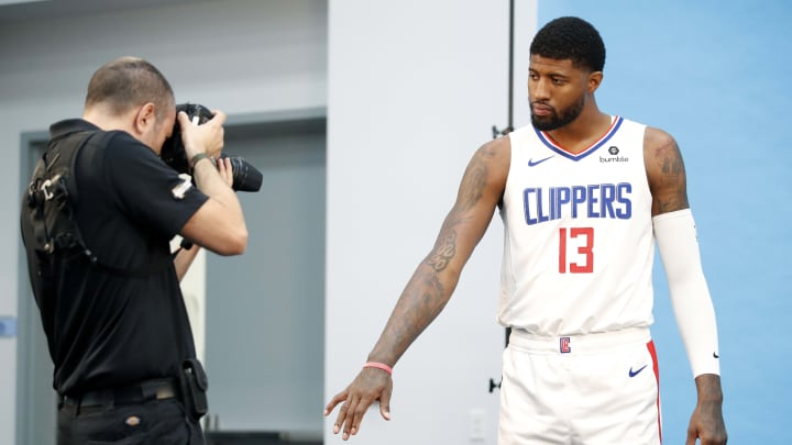 PLAYA VISTA, CALIFORNIA - SEPTEMBER 29: Paul George #13 of the LA Clippers pose for a photograph during the LA Clippers media day at Honey Training Center on September 29, 2019 in Playa Vista, California. (Photo by Josh Lefkowitz/Getty Images)