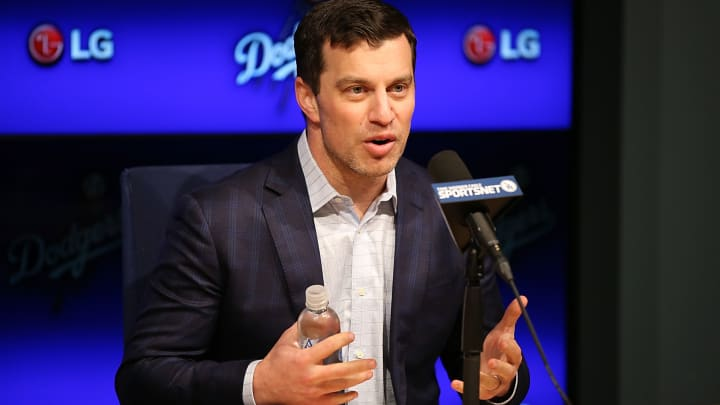 LOS ANGELES, CA - JANUARY 07:  Dodgers president of baseball operations Andrew Friedman introduces Pitcher Kenta Maeda to the Los Angeles Dodgers at Dodger Stadium on January 7, 2016 in Los Angeles, California.  (Photo by Joe Scarnici/Getty Images)