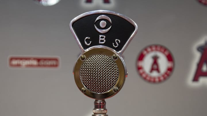 ANAHEIM, CA - MAY 19: A detailed view of an original CBS WTOP radio microphone presented to Los Angeles Dodgers broadcaster Vin Scully by the Los Angeles Angels of Anaheim during a private ceremony before the game between the Dodgers and Angels at Angel Stadium of Anaheim on May 19, 2016 in Anaheim, California. The plaque at the base of the microphone commemorates Scully's first play-by-play broadcast, a college football game between University of Maryland and Boston University, at Fenway Park on November 12, 1949 in Boston, Massachusetts. (Photo by Matt Brown/Angels Baseball LP/Getty Images)