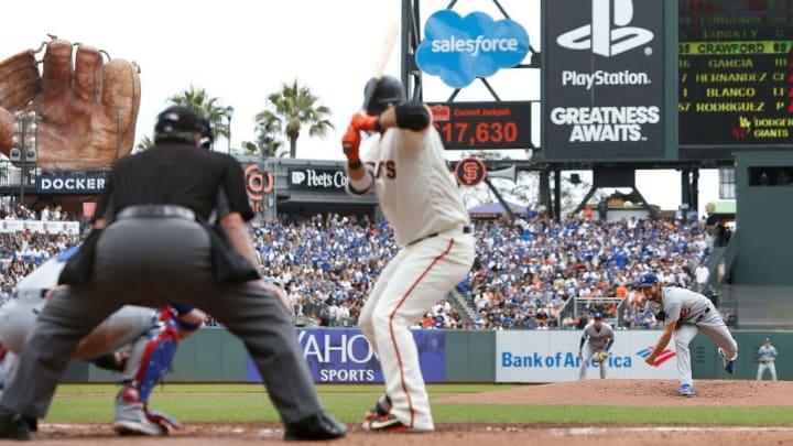 Clayton Kershaw pitching in San Francisco.