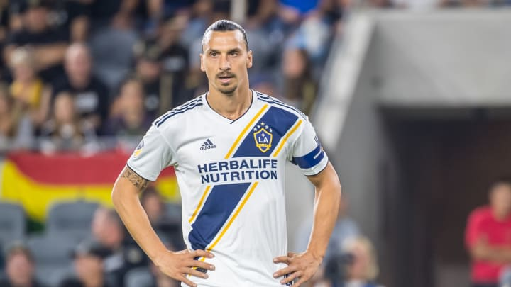 LOS ANGELES, CA - OCTOBER 24: Zlatan Ibrahimovic #9 of Los Angeles Galaxy during the MLS Western Conference Semi-final between Los Angeles FC and Los Angeles Galaxy at the Banc of California Stadium on October 24, 2019 in Los Angeles, California. Los Angeles FC won the match 5-3 (Photo by Shaun Clark/Getty Images)