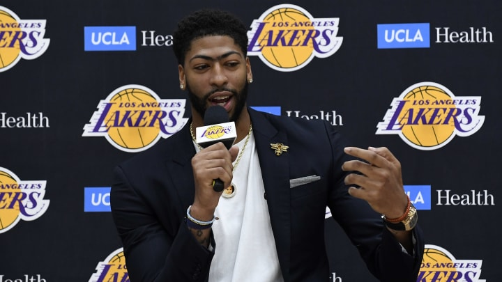 EL SEGUNDO, CA - JULY 13: Anthony Davis explains how he found out about the Los Angeles Lakers trade on Instagram during a news conference where he was introduced as the newest player of the Los Angeles Lakers  at UCLA Health Training Center on July 13, 2019 in El Segundo, California. NOTE TO USER: User expressly acknowledges and agrees that, by downloading and/or using this Photograph, user is consenting to the terms and conditions of the Getty Images License Agreement. (Photo by Kevork Djansezian/Getty Images)