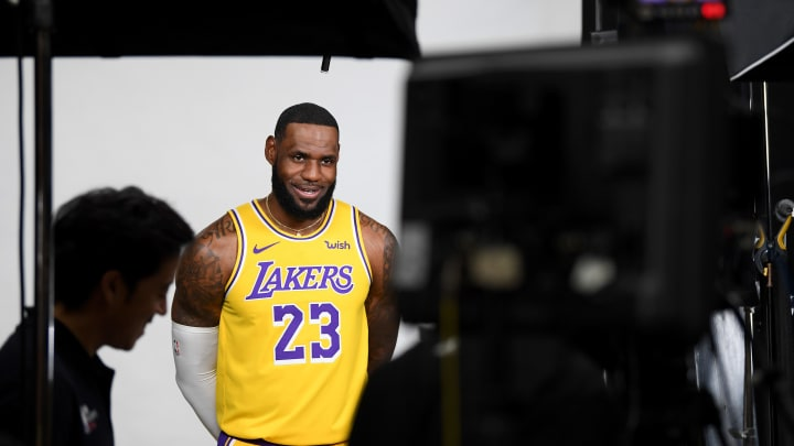 EL SEGUNDO, CALIFORNIA - SEPTEMBER 27:  LeBron James of the Los Angeles Lakers is interviewed during Los Angeles Laker media day at UCLA Health Training Center on September 27, 2019 in El Segundo, California. (Photo by Harry How/Getty Images)