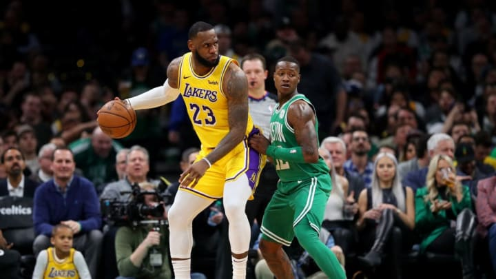 BOSTON, MASSACHUSETTS - FEBRUARY 07: Terry Rozier #12 of the Boston Celtics defends LeBron James #23 of the Los Angeles Lakers at TD Garden on February 07, 2019 in Boston, Massachusetts. NOTE TO USER: User expressly acknowledges and agrees that, by downloading and or using this photograph, User is consenting to the terms and conditions of the Getty Images License Agreement. (Photo by Maddie Meyer/Getty Images)