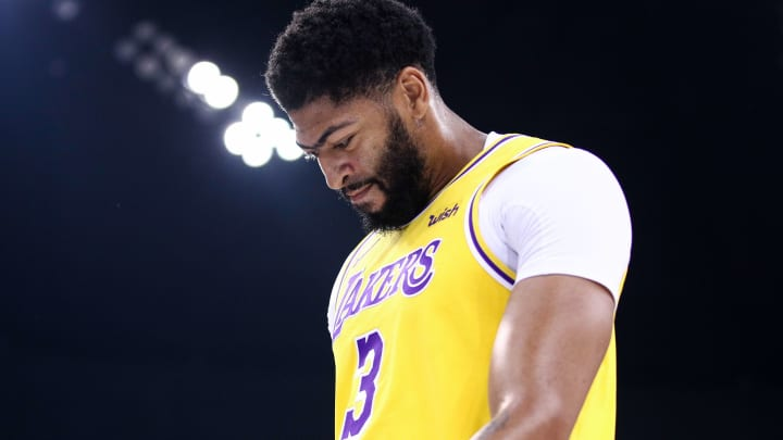 SHENZHEN, CHINA - OCTOBER 12: #3 Anthony Davis of the Los Angeles Lakers reacts during the match against the Brooklyn Nets during a preseason game as part of 2019 NBA Global Games China at Shenzhen Universiade Center on October 12, 2019 in Shenzhen, Guangdong, China. (Photo by Zhong Zhi/Getty Images)