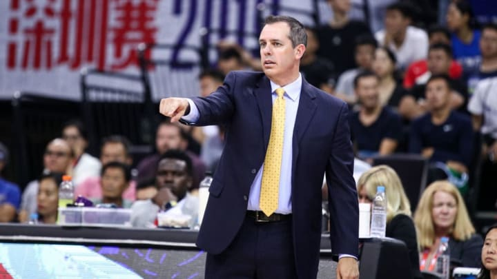 SHENZHEN, CHINA - OCTOBER 12: Head coach Frank Vogel of the Los Angeles Lakers reacts during the match against the Brooklyn Nets during a preseason game as part of 2019 NBA Global Games China at Shenzhen Universiade Center on October 12, 2019 in Shenzhen, Guangdong, China. (Photo by Zhong Zhi/Getty Images)
