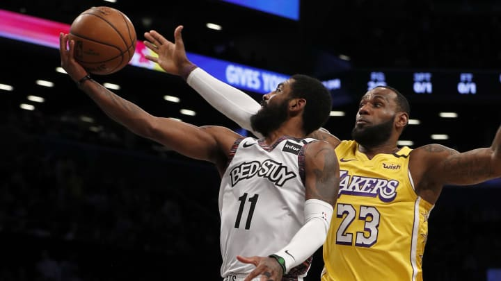 Kyrie Irving, LeBron James, Los Angeles Lakers v Brooklyn Nets