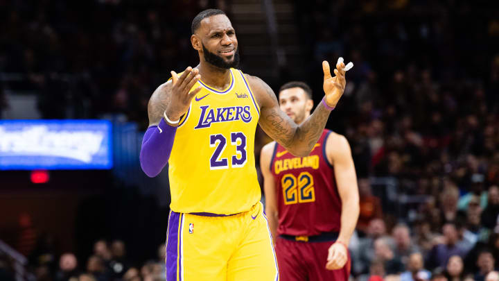 CLEVELAND, OH - NOVEMBER 21: LeBron James #23 of the Los Angeles Lakers reacts during the second half against the Cleveland Cavaliers at Quicken Loans Arena on November 21, 2018 in Cleveland, Ohio. The Lakers defeated the Cavaliers 109-105. NOTE TO USER: User expressly acknowledges and agrees that, by downloading and/or using this photograph, user is consenting to the terms and conditions of the Getty Images License Agreement. (Photo by Jason Miller/Getty Images)