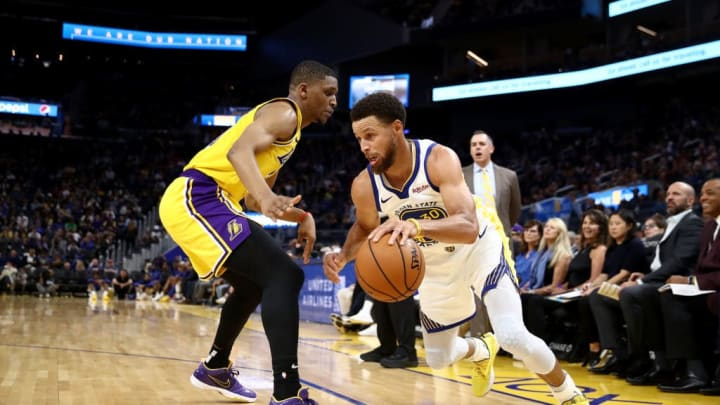 SAN FRANCISCO, CALIFORNIA - OCTOBER 18:  Stephen Curry #30 of the Golden State Warriors drives on Zach Norvell Jr. #21of the Los Angeles Lakers at Chase Center on October 18, 2019 in San Francisco, California. NOTE TO USER: User expressly acknowledges and agrees that, by downloading and or using this photograph, User is consenting to the terms and conditions of the Getty Images License Agreement. (Photo by Ezra Shaw/Getty Images)
