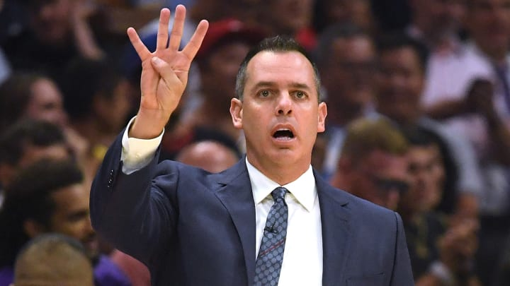LOS ANGELES, CALIFORNIA - OCTOBER 22:  Head coach Frank Vogel of the LA Clippers calls a play courtside during a 112-102 loss to the LA Clippers in the Clippers season home opener at Staples Center on October 22, 2019 in Los Angeles, California. (Photo by Harry How/Getty Images)