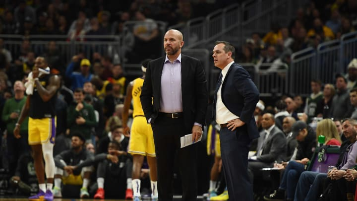 Lakers assistant Jason Kidd (L) standing next to HC Frank Vogel (R)