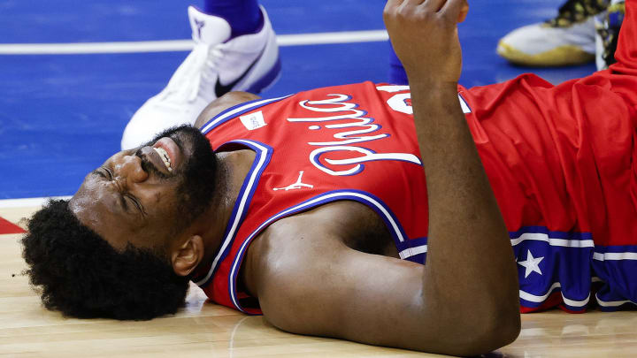 Joel Embiid after he landed on his back.