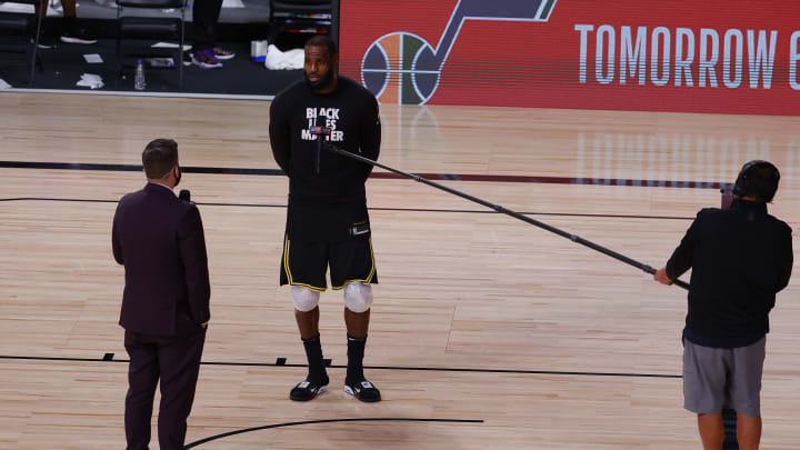LeBron James in a Black Lives Matter shirt after Game 4.