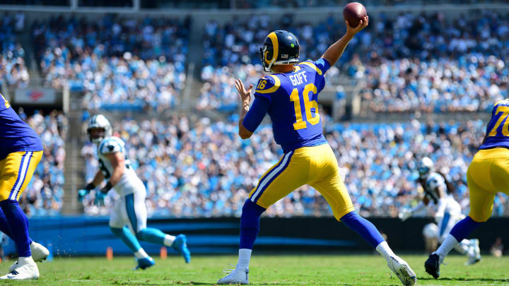 CHARLOTTE, NORTH CAROLINA - SEPTEMBER 08: Jared Goff #16 of the Los Angeles Rams throws the ball in the second quarter during their game against the Carolina Panthers at Bank of America Stadium on September 08, 2019 in Charlotte, North Carolina. (Photo by Jacob Kupferman/Getty Images)