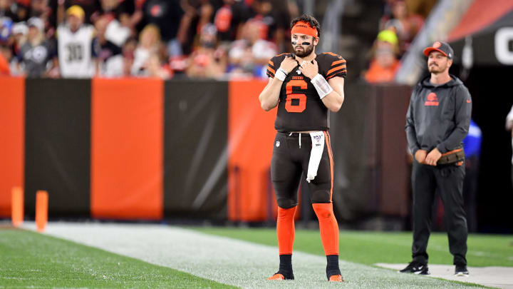 CLEVELAND, OHIO - SEPTEMBER 22: Quarterback Baker Mayfield #6 of the Cleveland Browns watches from the sidelines while the Los Angeles Rams have the ball during the third quarter at FirstEnergy Stadium on September 22, 2019 in Cleveland, Ohio. The Rams defeated the Browns 20-13.  (Photo by Jason Miller/Getty Images)