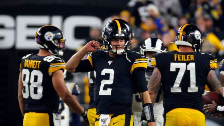 PITTSBURGH, PA - NOVEMBER 10:  Mason Rudolph #2 of the Pittsburgh Steelers celebrates after defeating the Los Angeles Rams on November 10, 2019 at Heinz Field in Pittsburgh, Pennsylvania.  (Photo by Justin K. Aller/Getty Images)