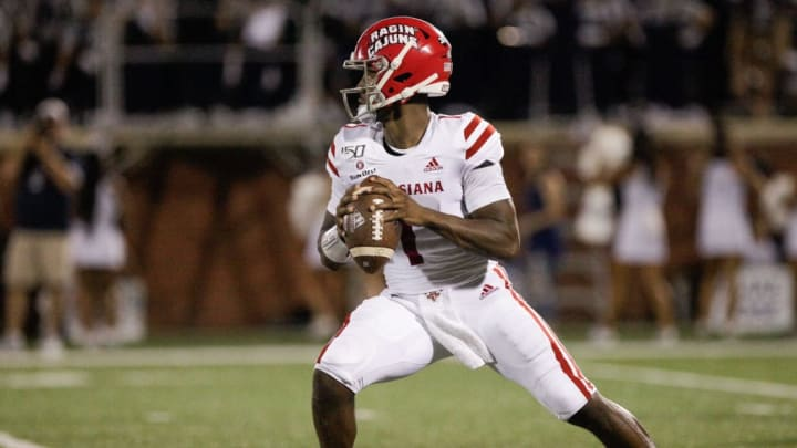STATESBORO, GA - SEPTEMBER 28: Levi Lewis #1 of the Louisiana Ragin' Cajuns looks to pass during the first quarter against the Georgia Southern Eagles at Allen E. Paulson Stadium on September 28, 2019 in Statesboro, Georgia. (Photo by Chris Thelen/Getty Images)