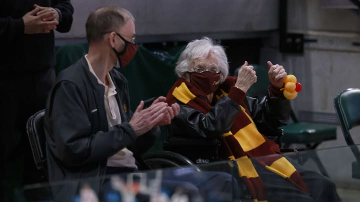 Sister Jean attends a Loyola tournament game.