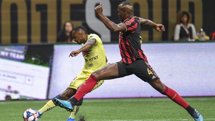 Aug 14, 2019; Atlanta, GA, USA; Club America midfielder Renato Ibarra (30) kicks the ball past