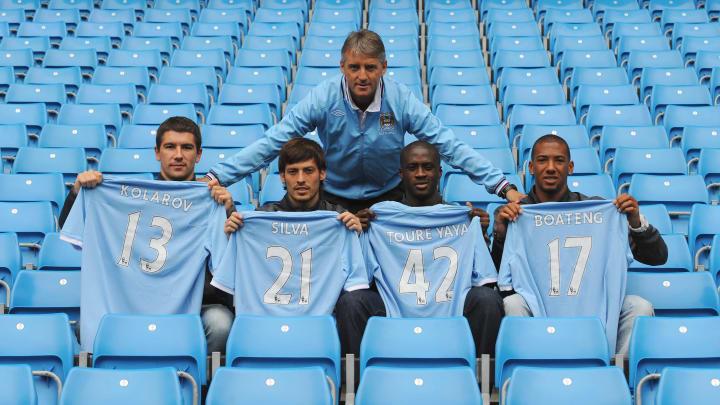 Aleksandar Kolarov, Yaya Toure, David Silva, Jerome Boateng, Roberto Mancini